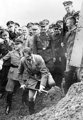 Adolf Hitler starting an Autobahn project.